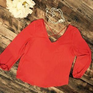 Coral silk-like tunic